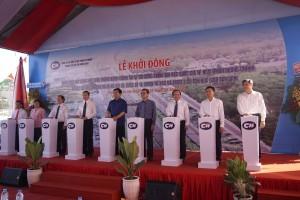 Bí Thư Thành Ủy Đinh La Thăng và các đồng chí lãnh đạo bấm nút chính thức khởi động xây dựng hoàn thiện mở rộng Xa lộ Hà Nội
