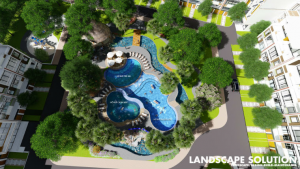 Phối cảnh tiện ích hồ bơi trong lô 3.1 của dự án Thủ Thiêm Lakeview