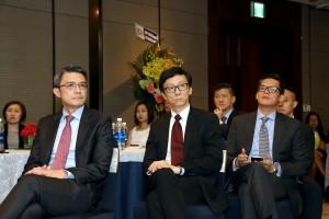 Hong kong Land representatives are listening Mr Le Vu Hoang's speech